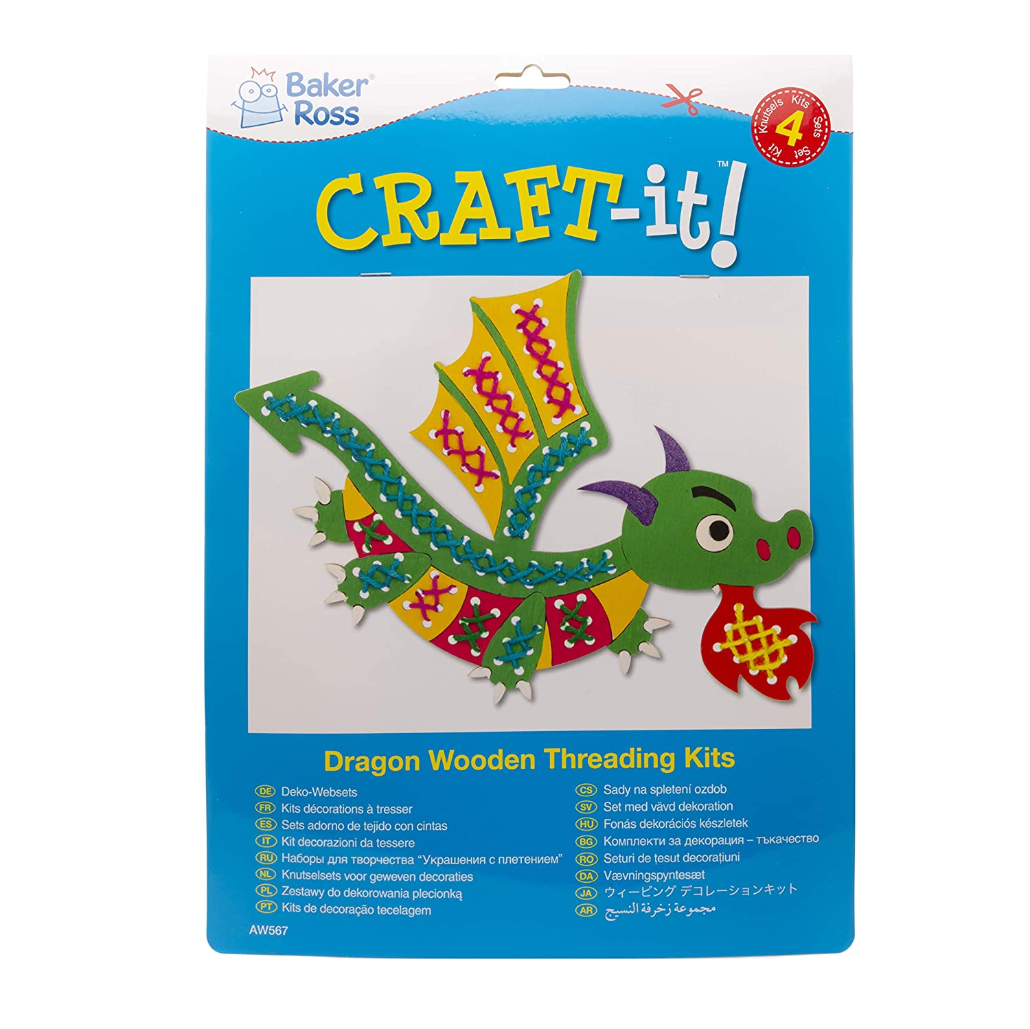 Dragon Making Kit with Wood Template Pack of 4 Baker Ross Dragon Wooden Threading Kit Colored Wool and Plastic Needle