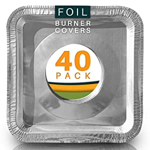 Best Stove Bib Liners (Pack of 40) Disposable Gas Stove Burner Covers. Aluminum Foil Drip Pans 8.5 x 8.5 x .5 Square.