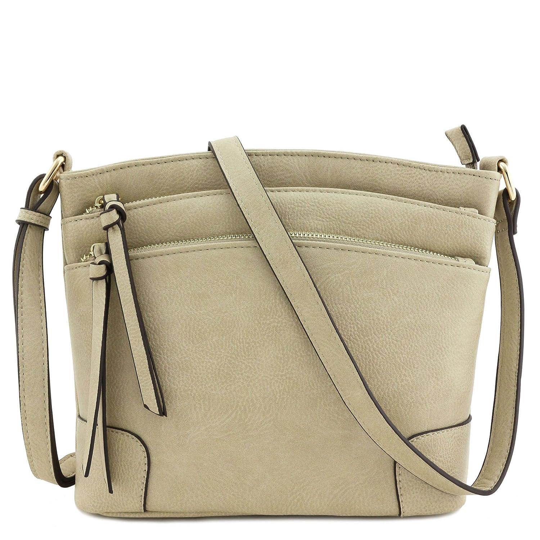 Beige Brick Triple Zipper Pocket Medium Crossbody Bag