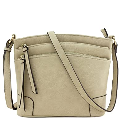 04c4866906 Triple Zipper Pocket Medium Crossbody Bag (Beige Brick)  Handbags ...