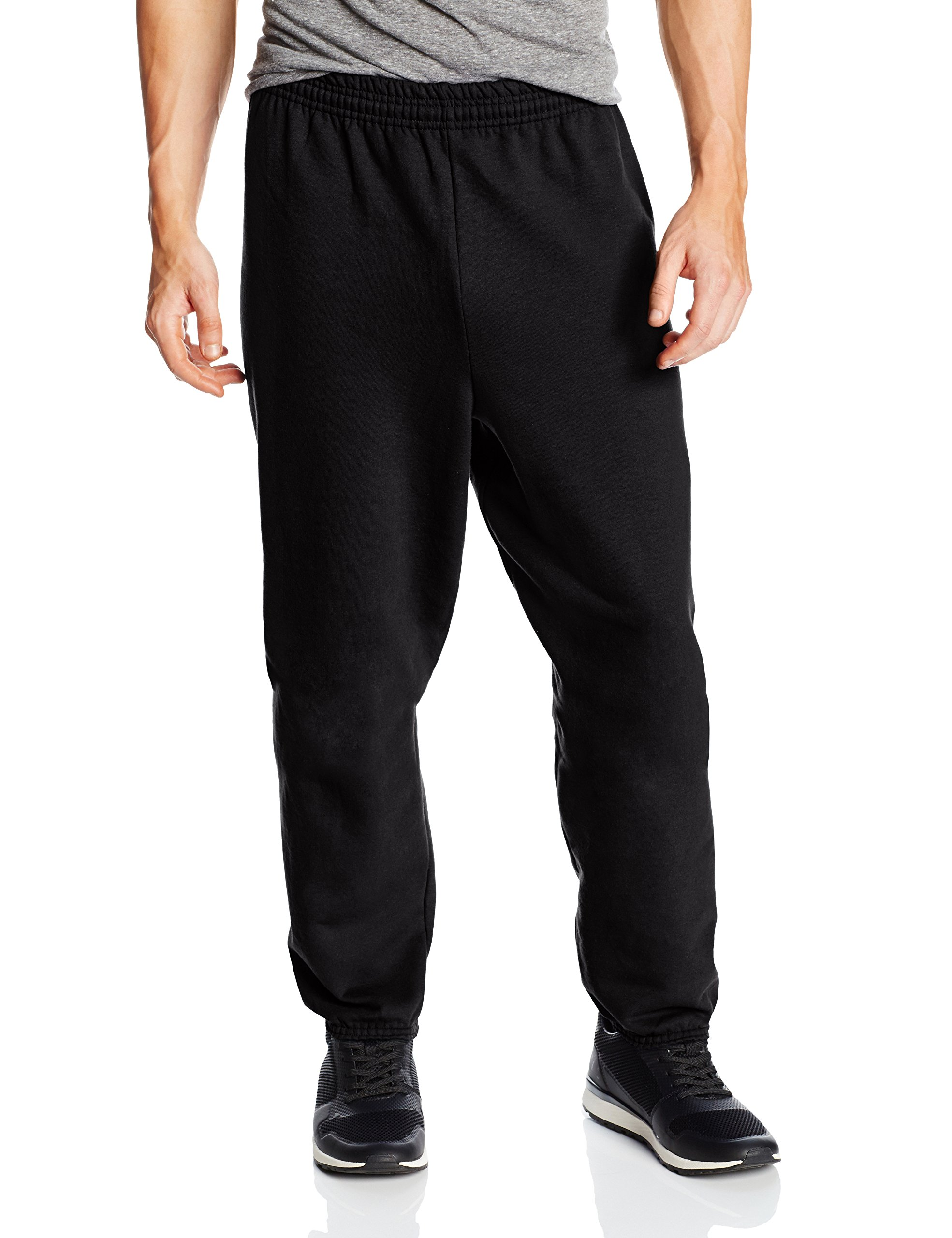 Hanes Men's EcoSmart Fleece Sweatpant, Black, Large (Pack of 2)