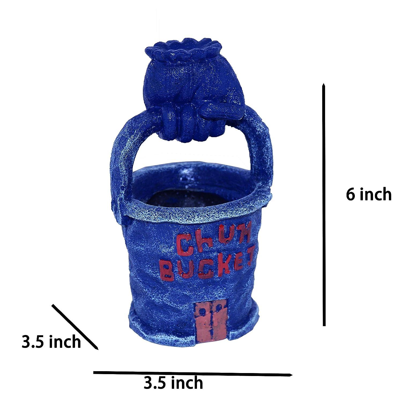 6 by 3.5 by 3.5 Large Size TEEMO Spongebob Squarepants Chum Bucket Aquarium Ornament