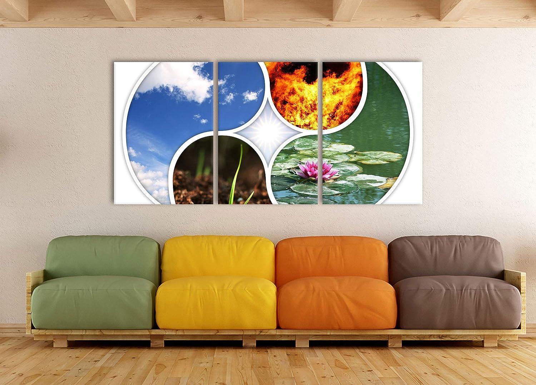 Pixxprint Die Vier Elemente XXL Leinwandbild in /Übergr/ö/ße 180x80m Gesamtma/ß 3 teilig//Wandbild//Kunstdruck