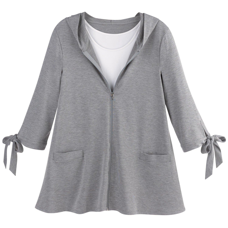 Ahh By Rhonda Shear Women's Zippered Swing Jacket - Tie Cuff 3/4 Sleeve Hoodie - Gray - 2X