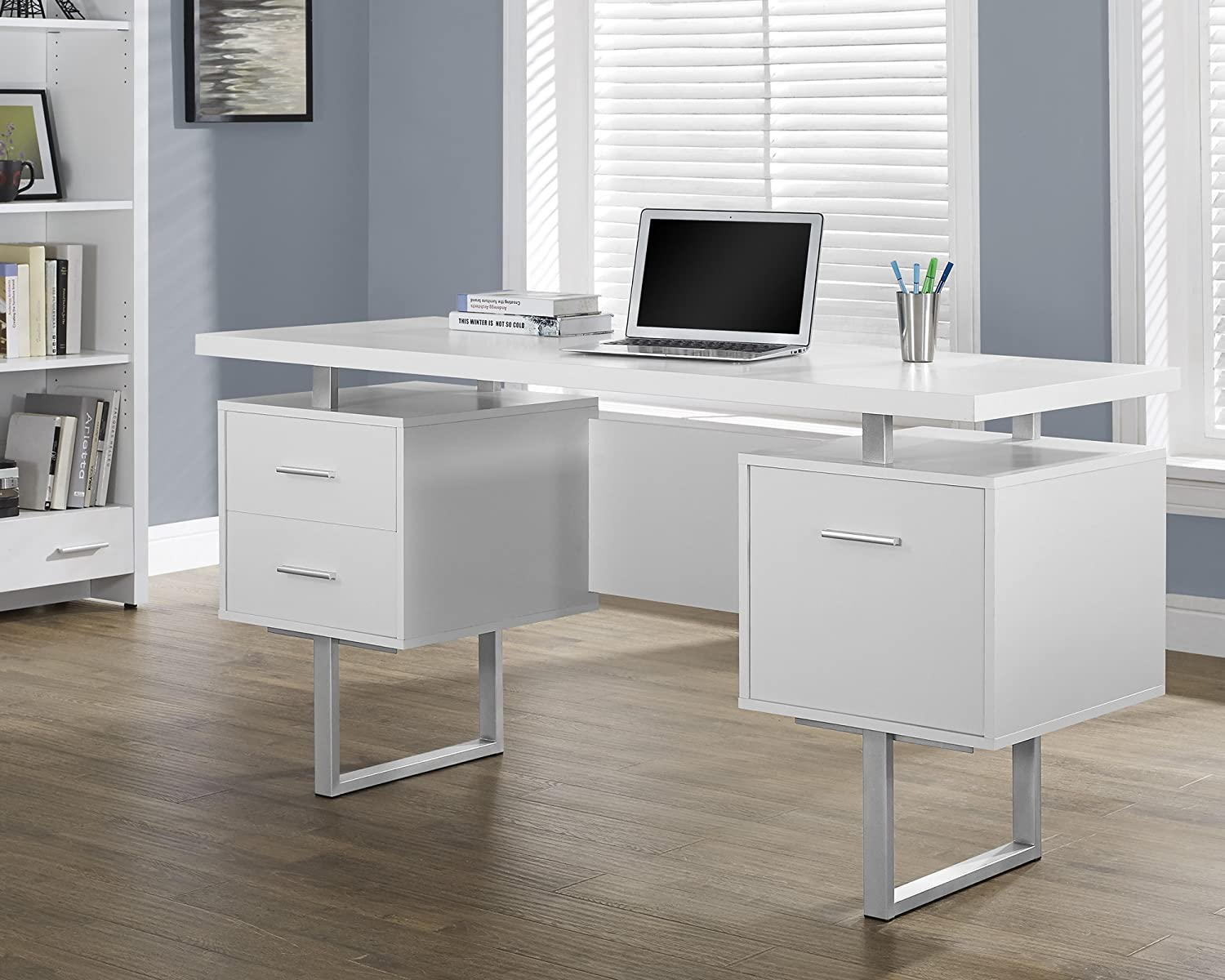 Amazon com  Monarch Specialties White Hollow Core Silver Metal Office Desk   60 Inch  Kitchen   Dining. Amazon com  Monarch Specialties White Hollow Core Silver Metal