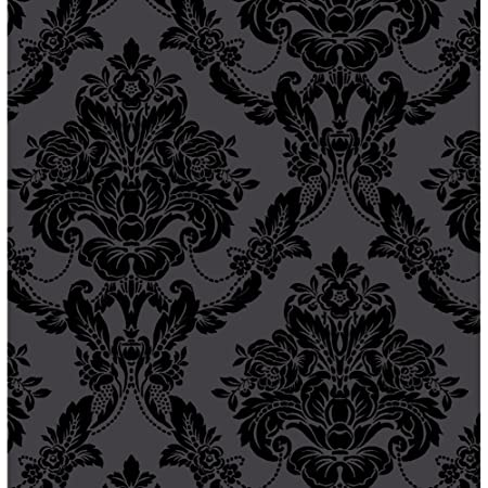 Sophie Conran Wallpaper Luxury Genuine Velvet Flock Palais Black 980609 Full Roll