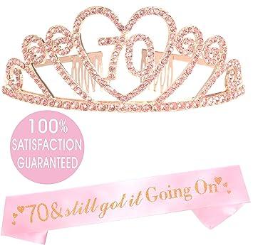 Amazon.com: MEANT2TOBE - Tiara y cinta de 70 cumpleaños ...