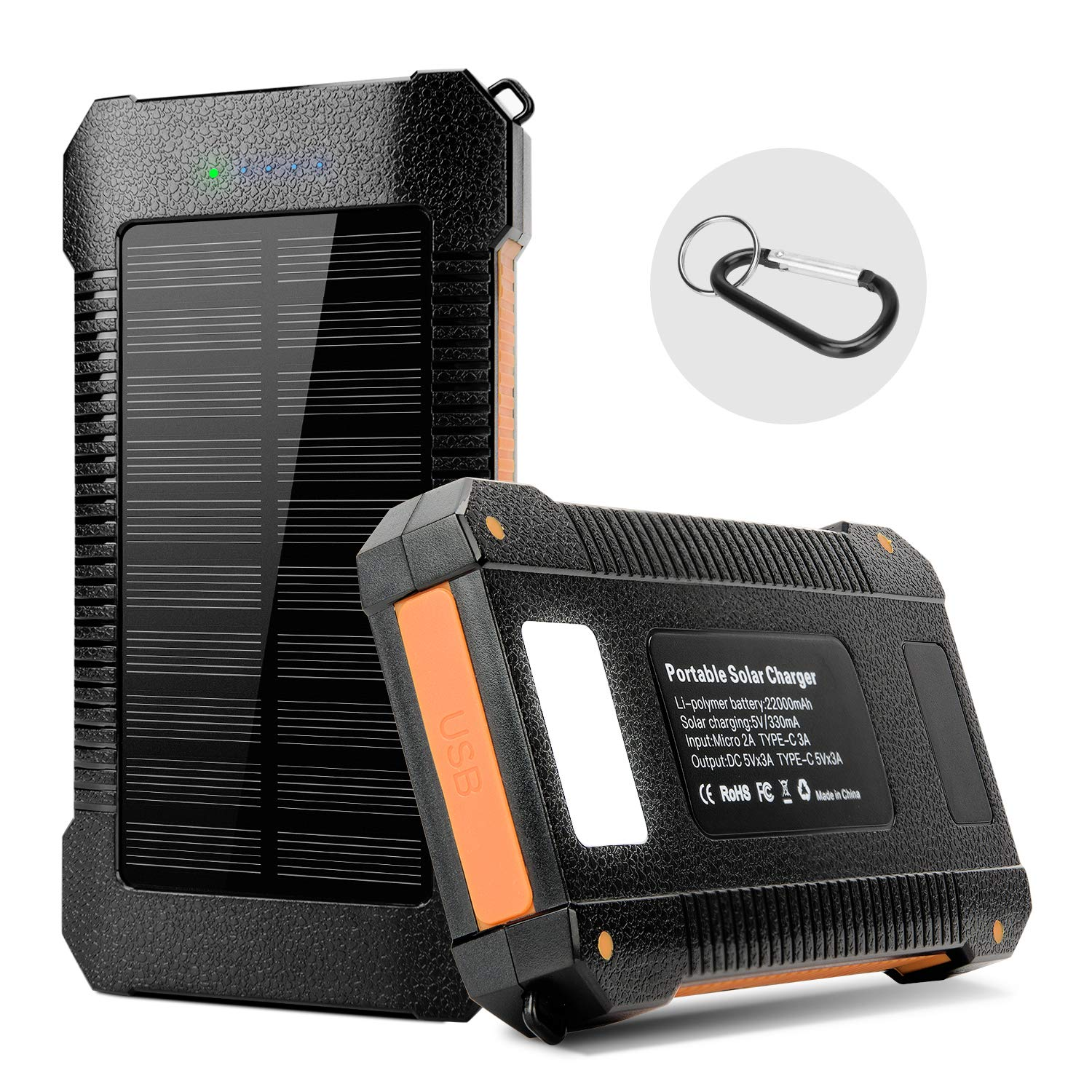 Solar Charger Power Bank 22000 mAh, Portable Solar Phone Charger Solar  Panel External Battery Charger with Dual USB, Type-C, LED Flashlight, IPx7