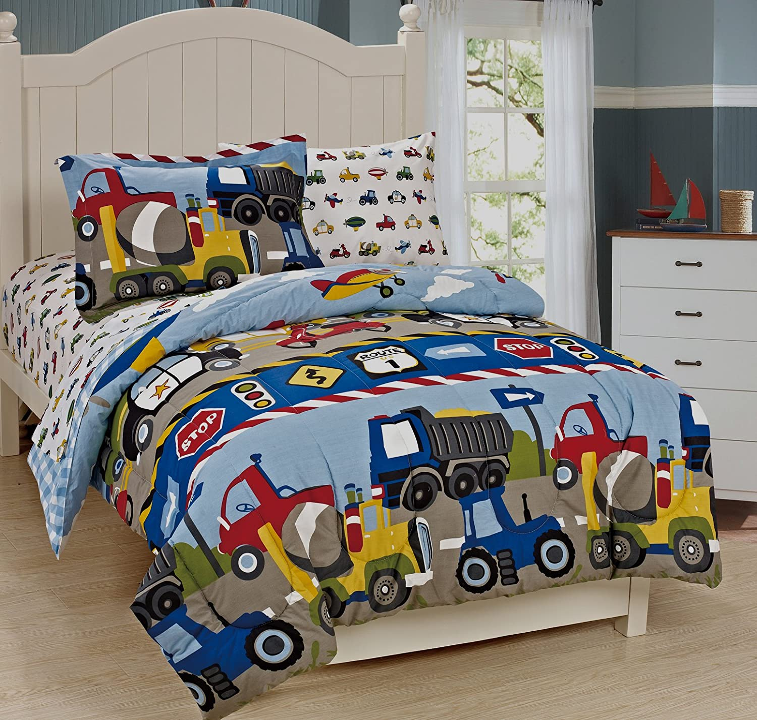 Mk Collection Full Size Trucks Tractors Cars Kids/boys 7 Pc Comforter and Sheet Set Blue Red Yellow Full, Trucks
