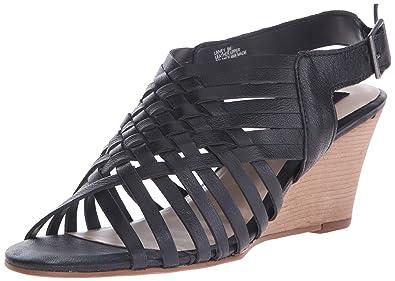 bf034191a93 STEVEN by Steve Madden Women s LIVVEY Wedge Sandal Black Leather 6 M US