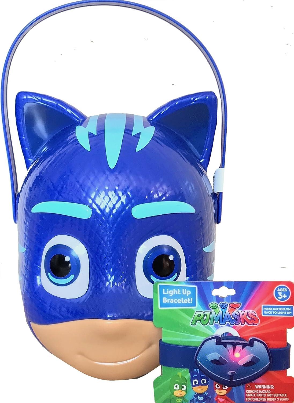 95cf73cea3a2a Amazon.com  Pj Masks Trick o Treat Candy Bucket With Pj Masks Novelty Light  Up Bracelet (blue)  Kitchen   Dining