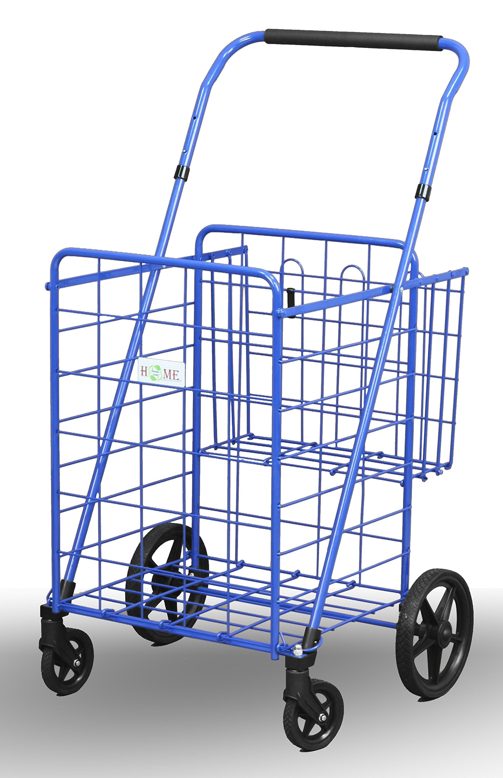 Uniware 1210-BL Shopping Cart with Back Basket, 23.5'' x 25.5'' x 42'', Large, Blue by Uniware