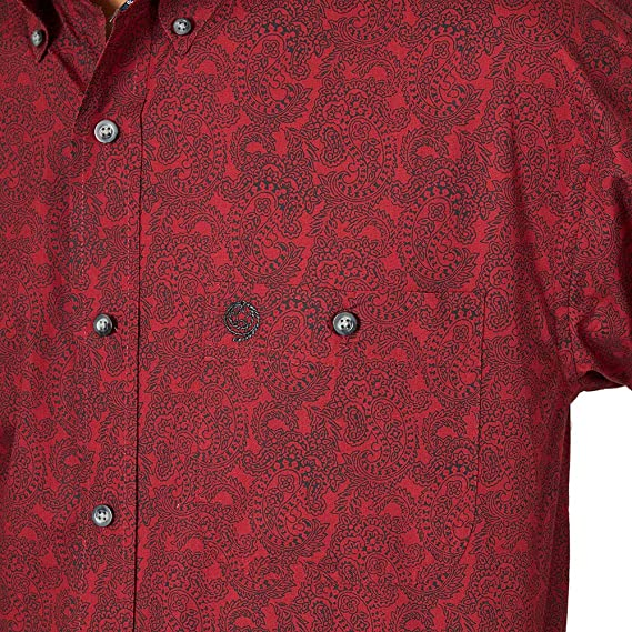 Gocgt Mens Long Sleeve Print Tops Blouses Slim Fit Casual Button Down Shirt