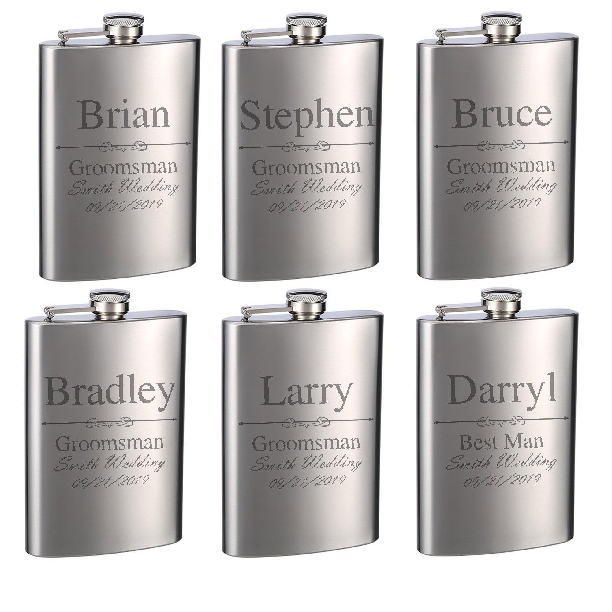 Top Shelf Flasks Personalized Custom Engraved 8oz Stainless Steel Groomsman Gift Flasks for Weddings, True Metal Etching Lasts a Lifetime, Set of 6 by TOP SHELF FLASKS