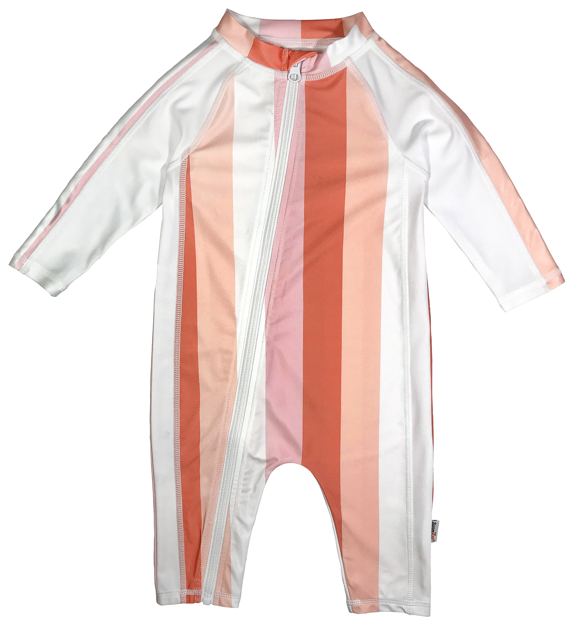 SwimZip Little Girl Long Sleeve Sunsuit with UPF 50 Sun Protection,Peach Stripe,0-6 Month by SwimZip
