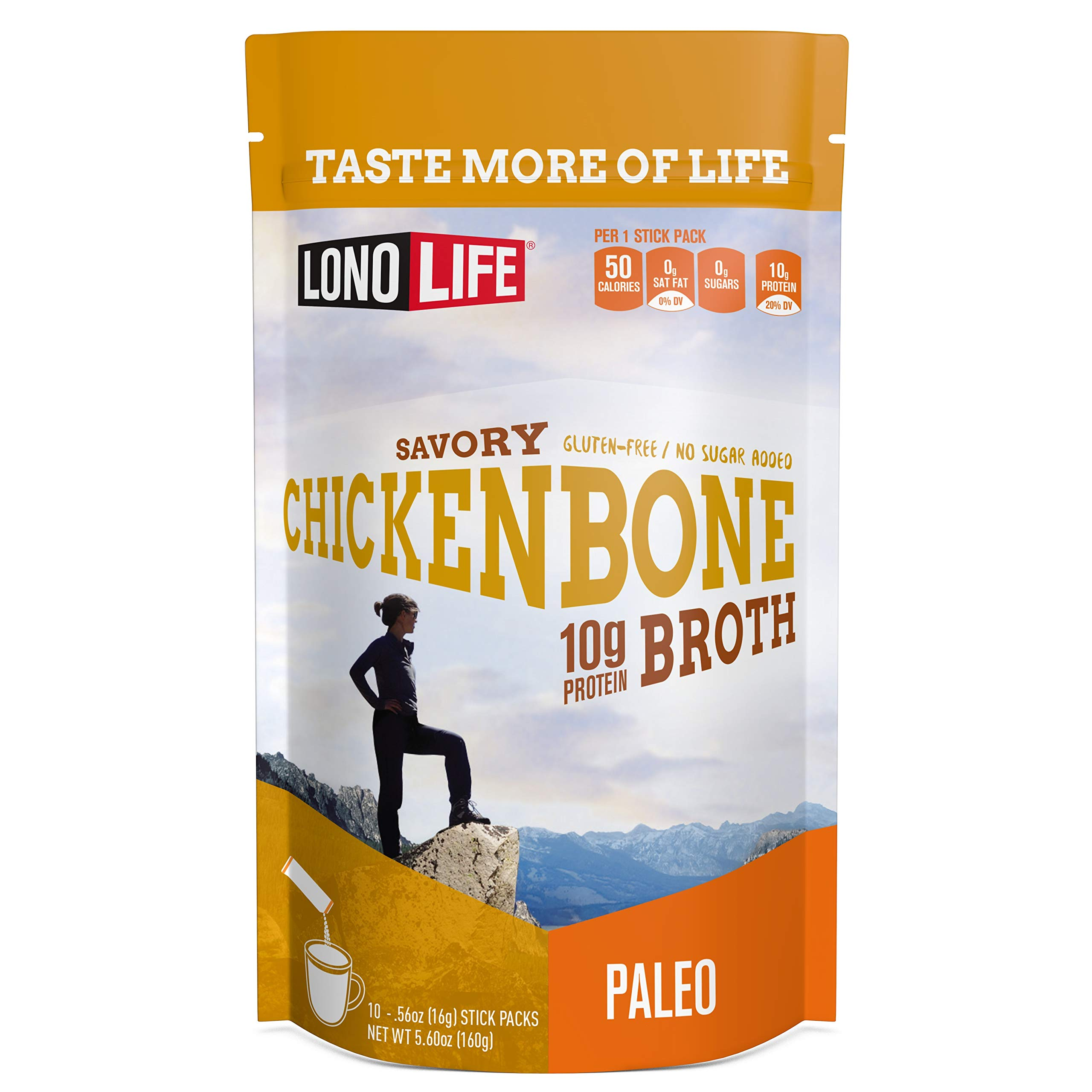 LonoLife Chicken Bone Broth Powder with 10g Protein, Stick Packs, 10 Count by LonoLife (Image #1)