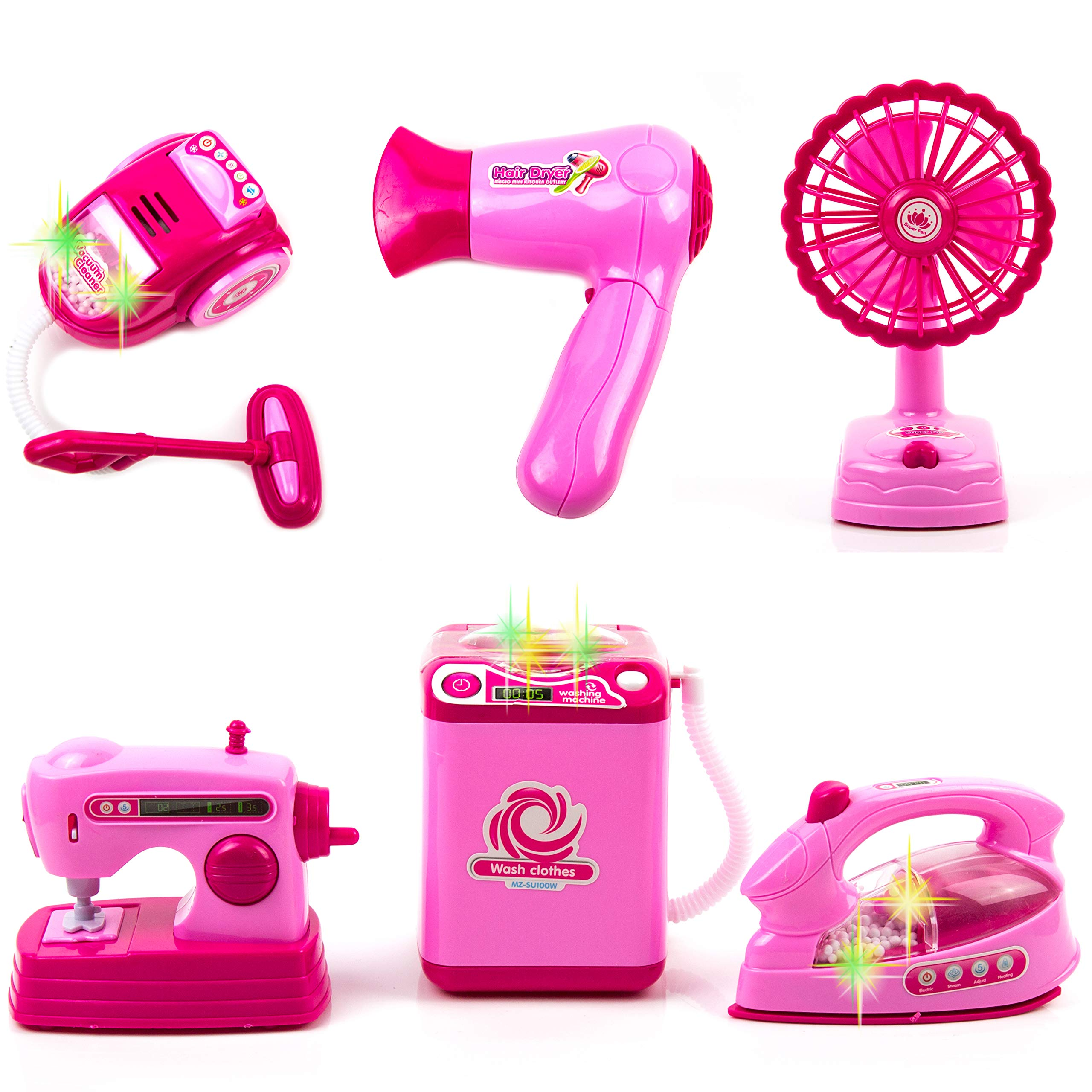 Toysery Mini Household Appliances Toy Set Material | Equipped with Lights | Easy to Play | Promote Creativity and Learning Skills of Kids | Battery Operated | Dream Gift for Girls