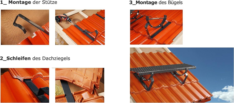 Schwarz Dachtritt Steigtritt 60 cm f/ür Dachziegel und Biberschwanzziegel zum Einh/ängen