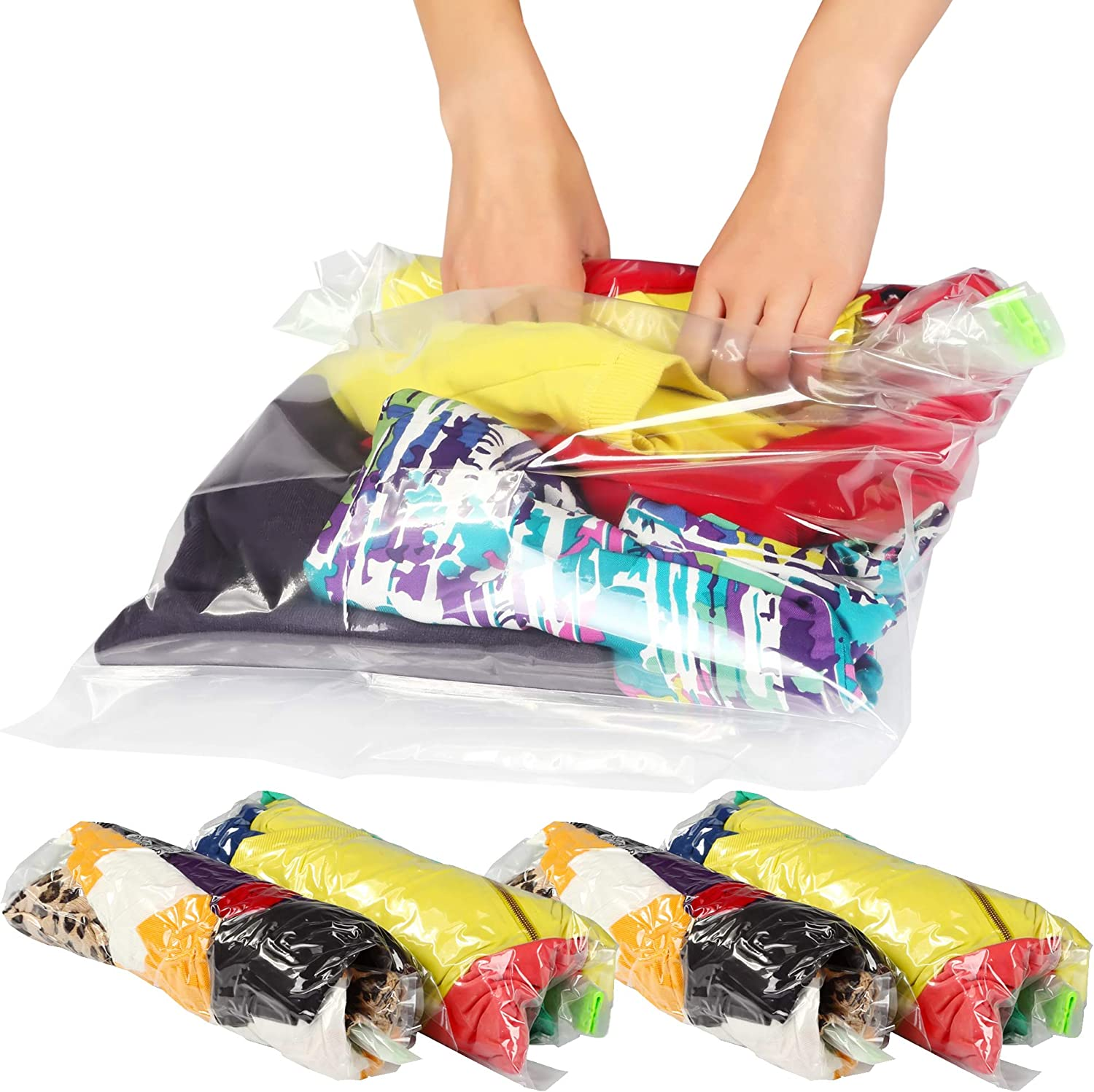 12 Medium & Large Ziplock Storage Bags for Clothes - Travel Accessories - Space Saver Vacuum Bags - Travel Roll-Up Bags for Packing – Packing Waterproof Compression Bags for Travel No Vacuum Needed