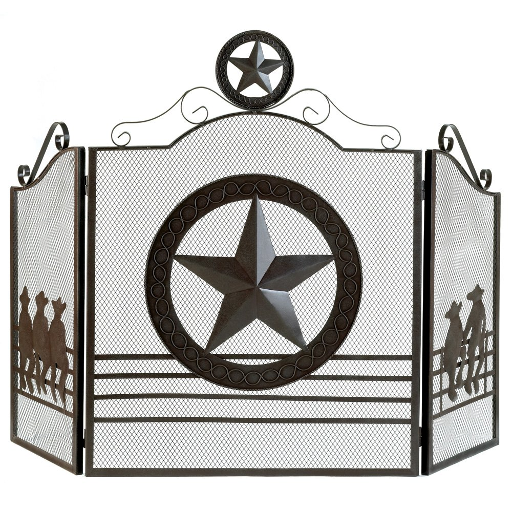Gifts & Decor Rustic Weathered Texas Lone Star Metal Fireplace Screen