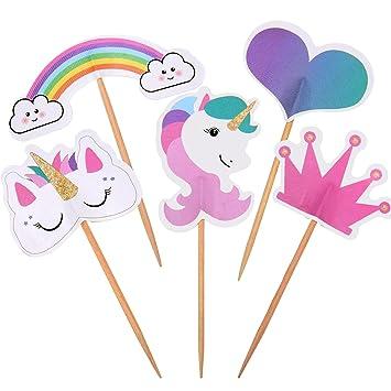 48 Piezas de Cake Topper de Unicornio Topper de Tartas en Corazón Corona Arco Iris Decoración de Pasteles para Fiesta Temática y Tarta de Cumpleaños