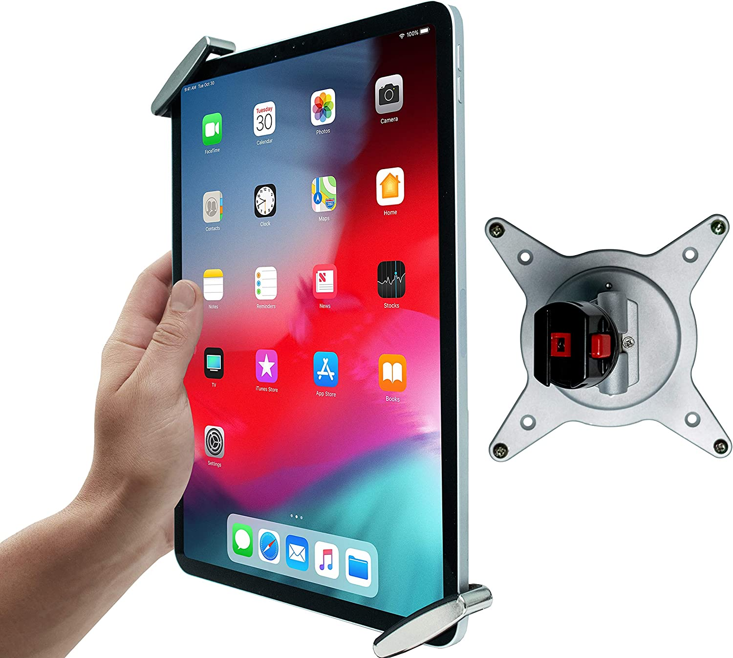 Tablet Mount, CTA Digital Security Grip with Quick-Connect Vesa Mount for iPad 10.2-Inch (7th Gen.), 11-Inch iPad Pro, iPad Mini, iPad Gen. 6 (2018), and More (PAD-TSHV)