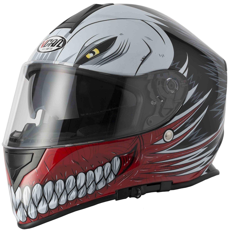 L Nuovo stile VCAN V127 HOLLOW Rosso Graphic Moto Scooter Crash Casco Track Quick Sport Full Face ACU e passamontagna