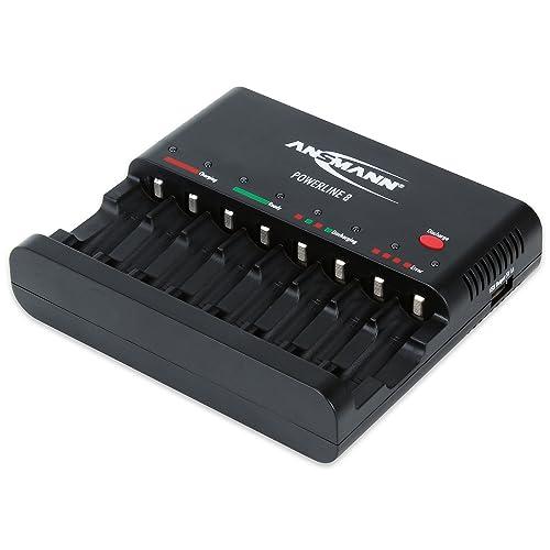 ANSMANN Batterieladegerät Powerline 8 für Akku Batterien - Universal Ladegerät, 8-fach multi Akkuladegerät zum Laden & Entladen für AA & AAA Akkus - Schnellladegerät Ladestation mit USB Port