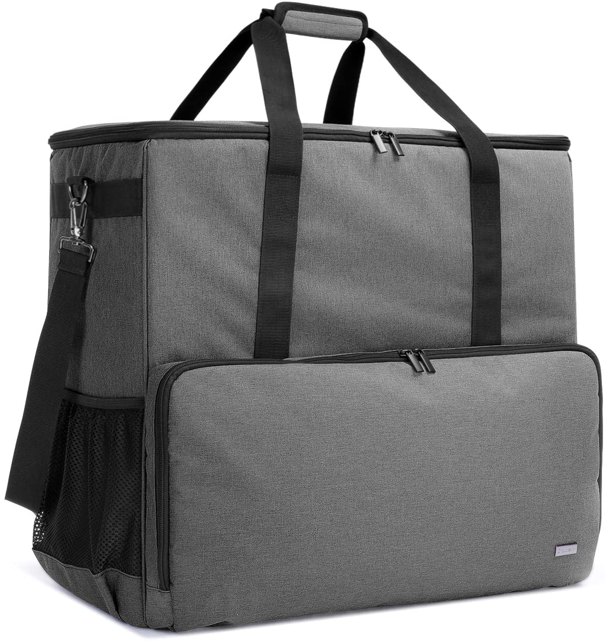 CURMIO Desktop Computer Travel Bag, Carrying Case for Computer Tower PC Chassis, Keyboard, Cable and Mouse, Bag Only, Grey