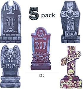 DEMESEX Halloween Decorations Halloween Yard Sign Scary Tombstones Yard Stake of RIP Skull Larger Size Eye-catching Graveyard Halloween Decorations at Lawn, Garden, Yard, Driveway (6pcs)