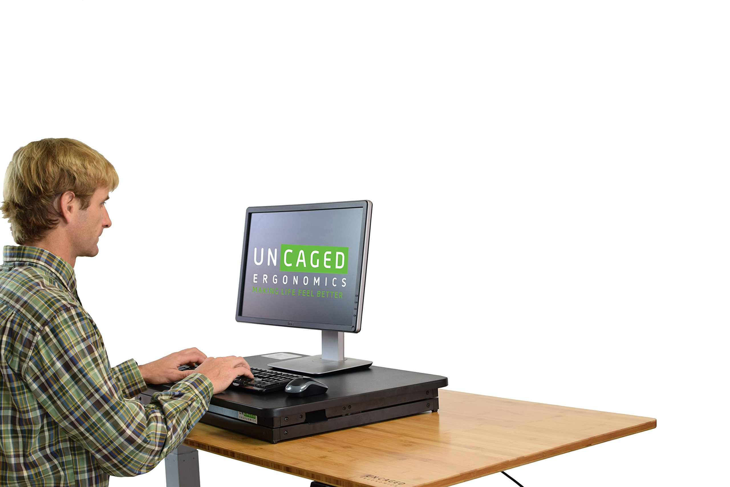 CHANGEdesk Mini Small Adjustable Height Standing Desk Converter for Laptop MacBook Single Monitor Desktop Computer Portable Lightweight Ergonomic sit Stand up Corner Riser Affordable Compact Tabletop by Uncaged Ergonomics (Image #4)