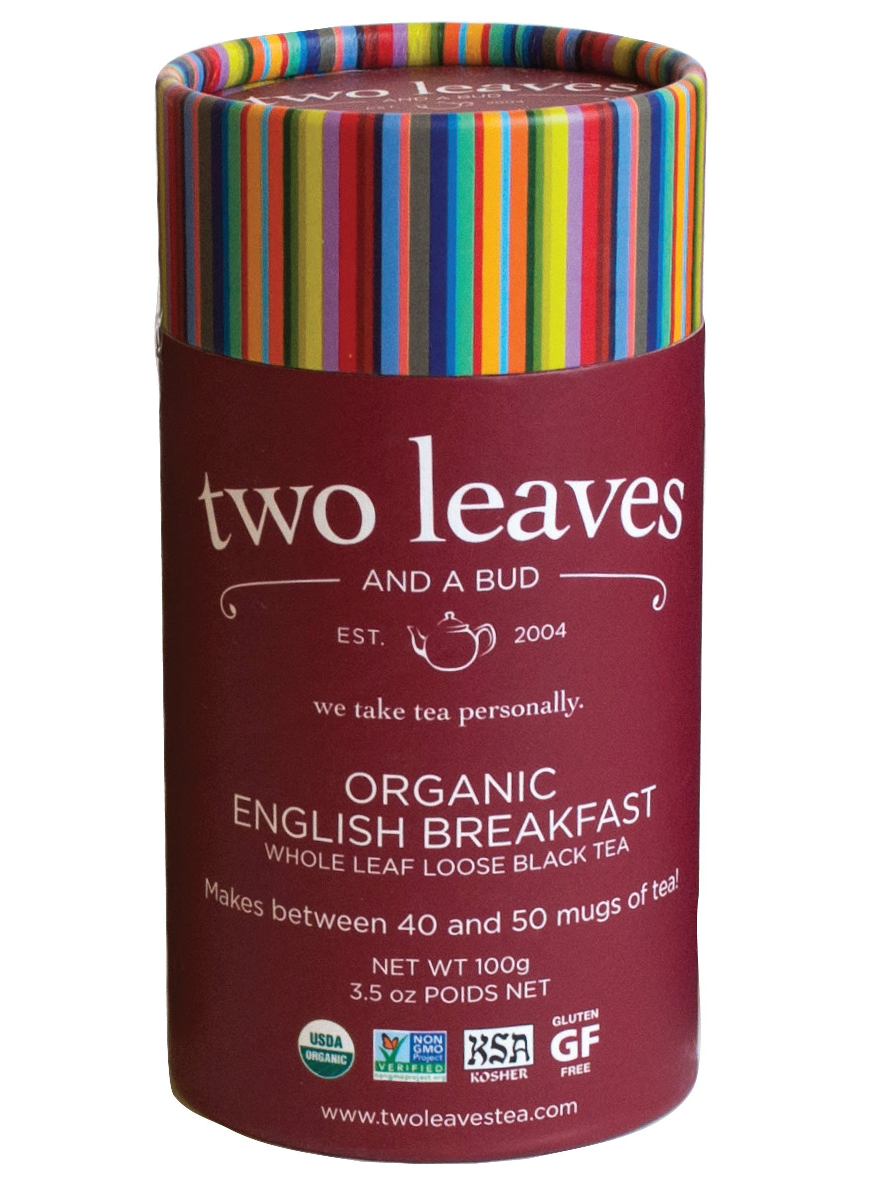 Two Leaves and a Bud Organic English Breakfast Black Loose Tea Cylinder, 3.5 Ounce,