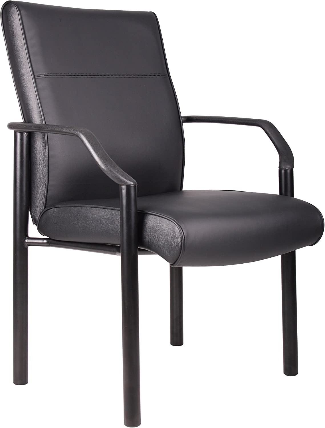 Boss Office Products Mid Back LeatherPlus Guest Chair in Black