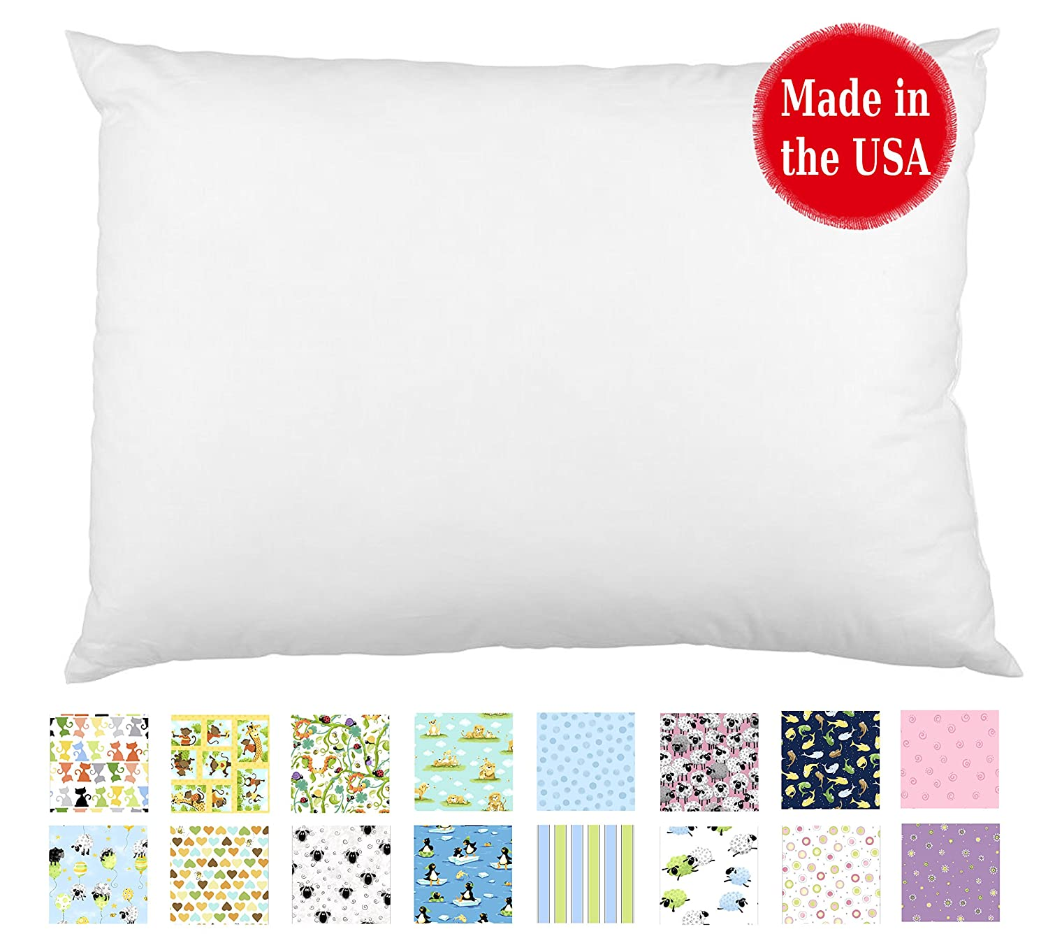 Toddler Pillow In White & Prints