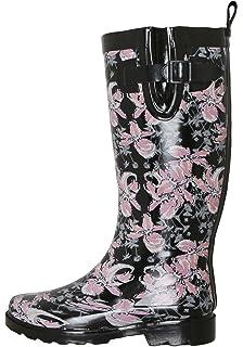 Amazon.com | Women Rubber Rain Boots / Lined Warm Snow Boots w ...