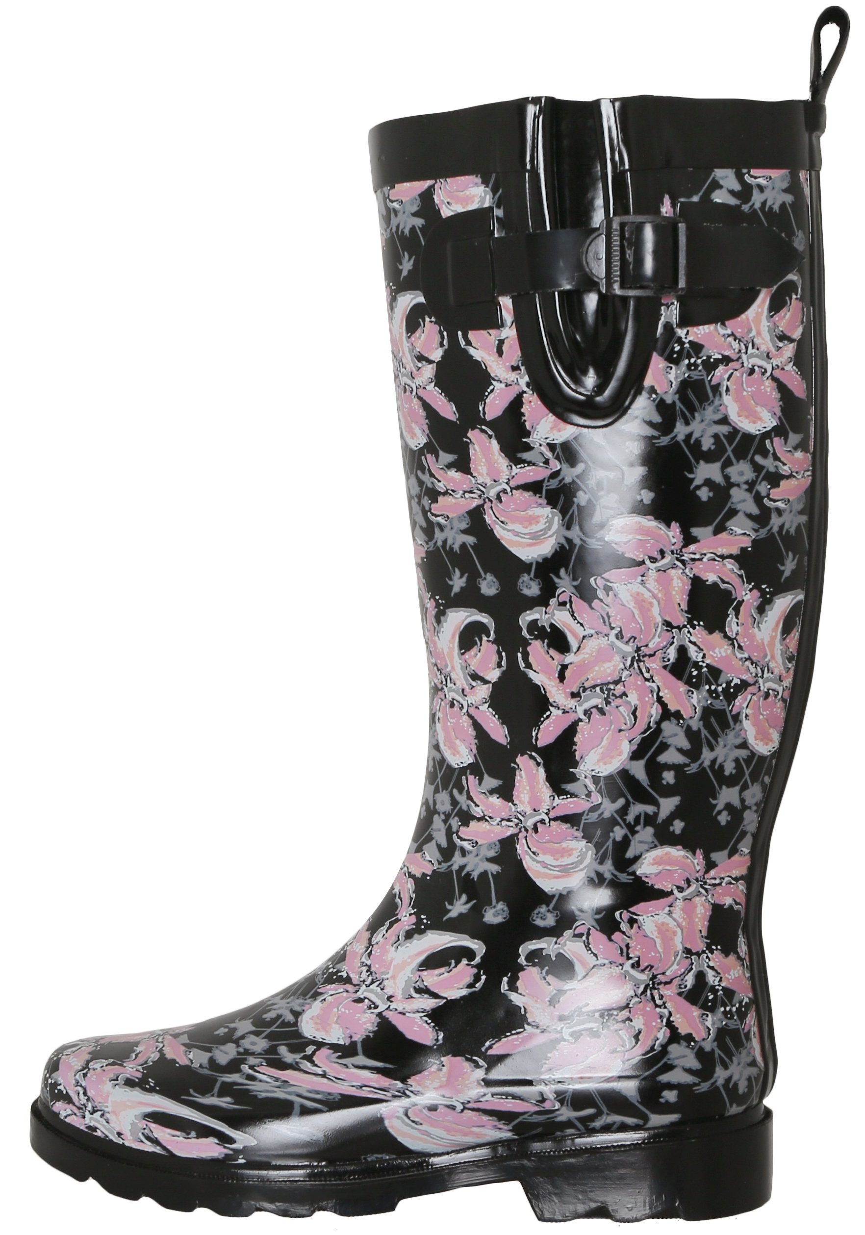 Capelli New York Ladies Shiny Edgy Floral Printed Rain Boot Black Combo 8