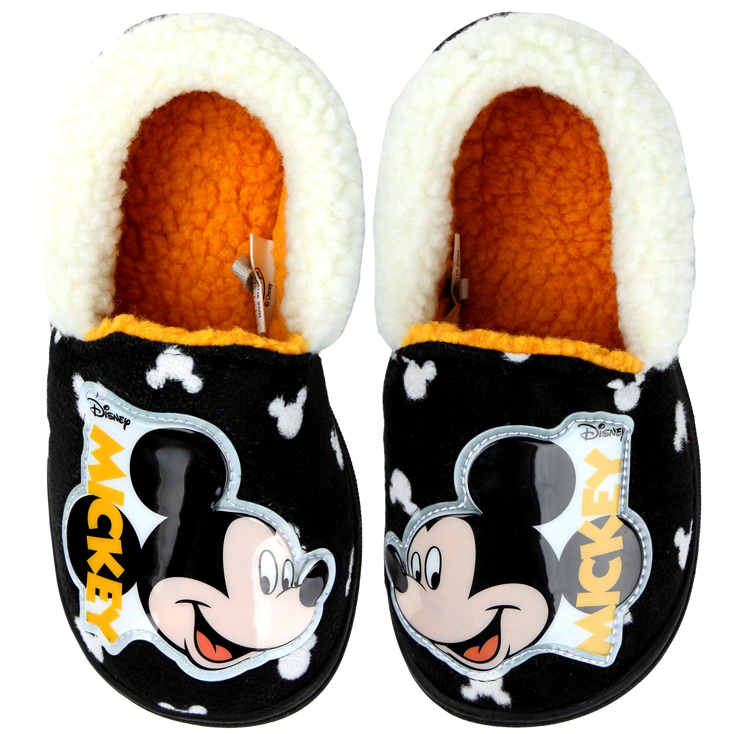 Joah Store Disney Mickey Mouse Slippers for Boys Girls Warm Fur Comfort Indoor Shoes (1 M US Little Kid, Mickey Mouse)