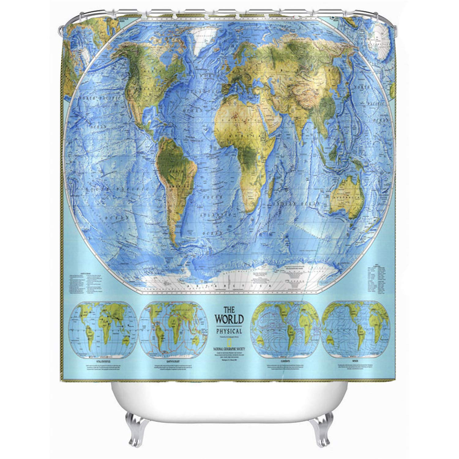 hipaopao World Map Shower Curtains Countries Capital Cities Blue Earth  Decor Fabric Bathroom Accessories Set 72X72 Inch Free Hooks Included