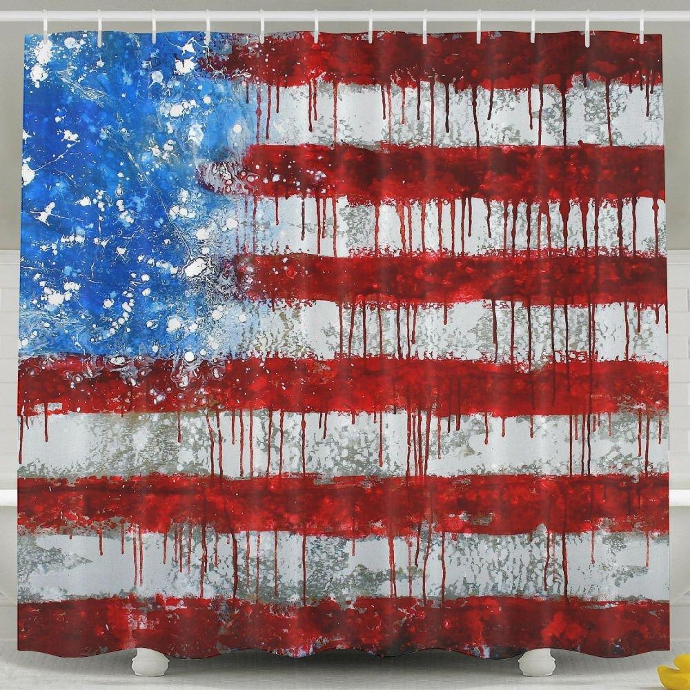 BINGO FLAG Funny Fabric Shower Curtain Painting USA Flag Waterproof Bathroom Decor With Hooks 60 X 72 Inch