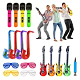 iLoveCos Inflatable Toys Colorful Guitar Saxophone Microphone Inflatables Instruments Shutter Shading Glasses Party Accessories Set for Kids Adults Random Color 16pcs