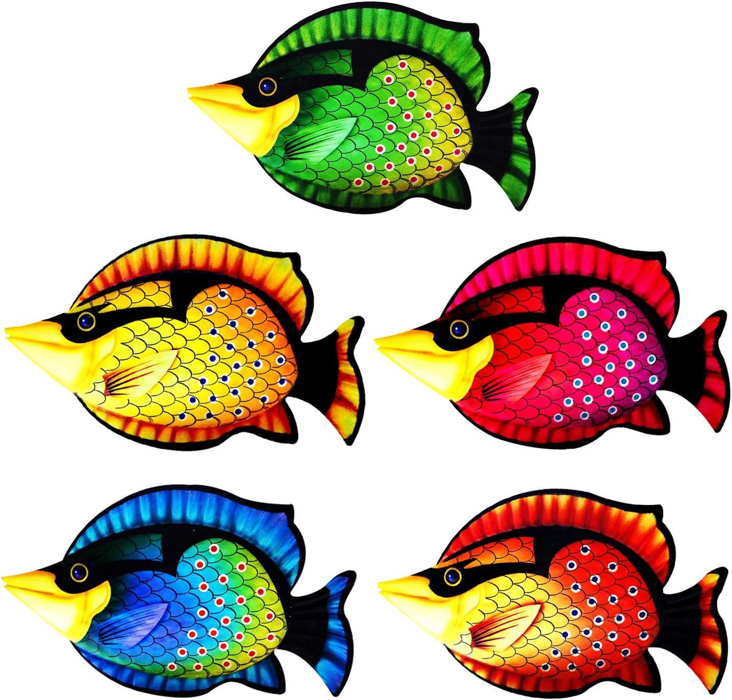MYJAQI 5 Pcs Coastal Decor Metal Fish Wall Art Garden Pool Decor, Vivid Colorful Fish Art Wall Hanging for Pool Home Porch Fence Garden (12 Inch x 7 Inch)