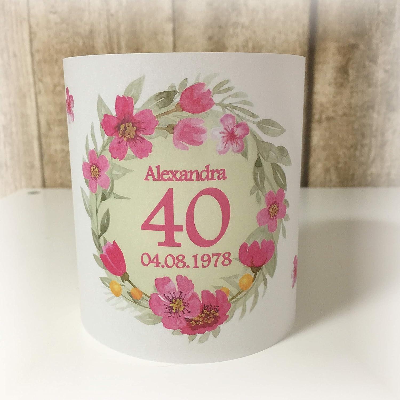 4er Set Tischlicht Tischlichter Blumen runder Geburtstag 40 50 60 70 80 90 Tischdeko personalisierbar pink lindgrün