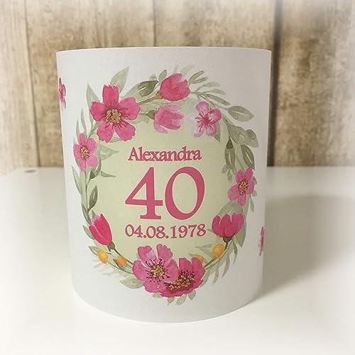 4er Set Tischlicht Tischlichter Blumen Runder Geburtstag 40 50 60 70