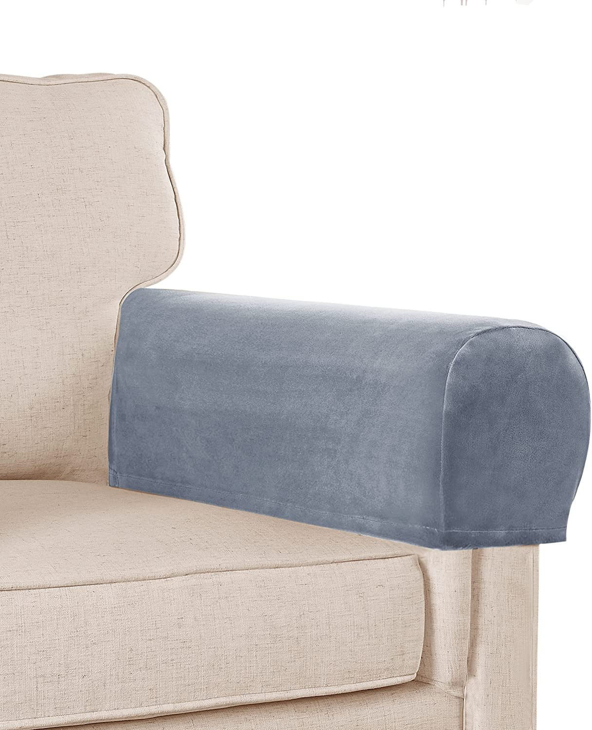 Sofa Armrest Covers Stretch Velvet Plush Arm Covers for Chairs and Sofas Anti-Slip Couch Armrest Covers with Sticker Furniture Armrest Protector for Sofa Couch Chair Recliner, Set of 4, Stone Blue