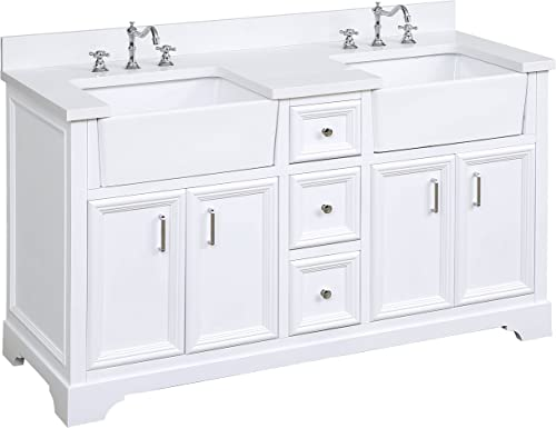 Zelda 60-inch Double Bathroom Vanity Quartz White Includes a Quartz Countertop, White Cabinet with Soft Close Doors Drawers, and White Ceramic Farmhouse Apron Sinks