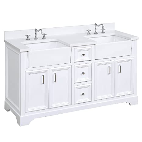 Zelda 60 Inch Double Bathroom Vanity Quartz White Includes A Quartz Countertop White Cabinet With Soft Close Doors Drawers And White Ceramic