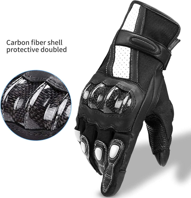 INBIKE Guantes Moto Piel Cuero para Hombre Mujer Moto Antideslizante De Motocross Motocicleta con Funci/ón T/áctil CM310