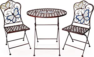 Alpine Corporation Indoor/Outdoor Butterfly Design 3-Piece Bistro Set Folding Table and Chairs Patio Seating, Multi (BVK574A)