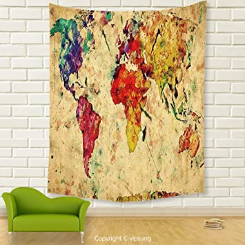 Amazon vipsung house decor tapestryretro vintage world map on vipsung house decor tapestryretro vintage world map on grunge backdrop with colored continents artsy atlas chart gumiabroncs Images