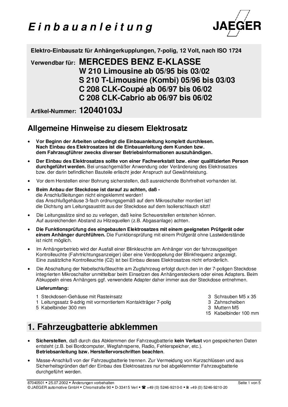 Jaeger 12040103 Elektrosatz, Anhängevorrichtung: Amazon.de: Auto